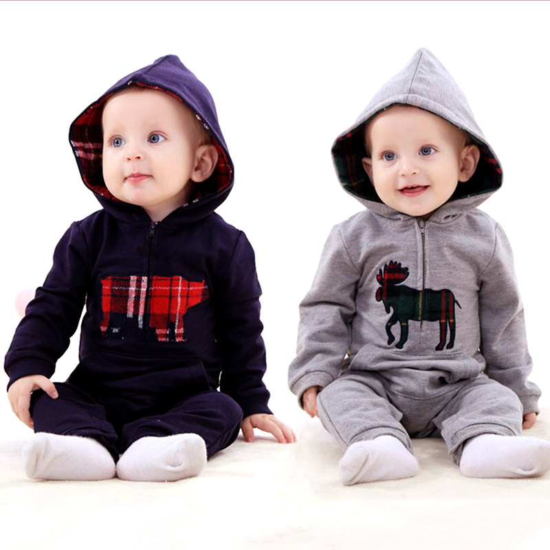 2016 new sping newborn Baby rompers grey long sleeve one piece baby boy clothes roupa de bebe menino bebes conjuntos infantis