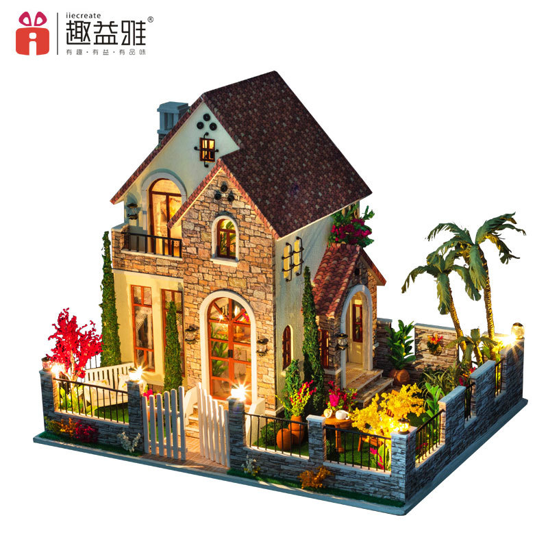 iiE CREATE Doll House DIY Toy Large Villa Hand Assembled Building 3D Model Miniature DollHouse Furniture Set Love Apartment d030 diy mini villa model large wooden doll house miniature furniture 3d wooden puzzle building model