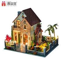 iiE CREATE Doll House DIY Toy Large Villa Hand Assembled Building 3D Model Miniature DollHouse Furniture Set Love Apartment