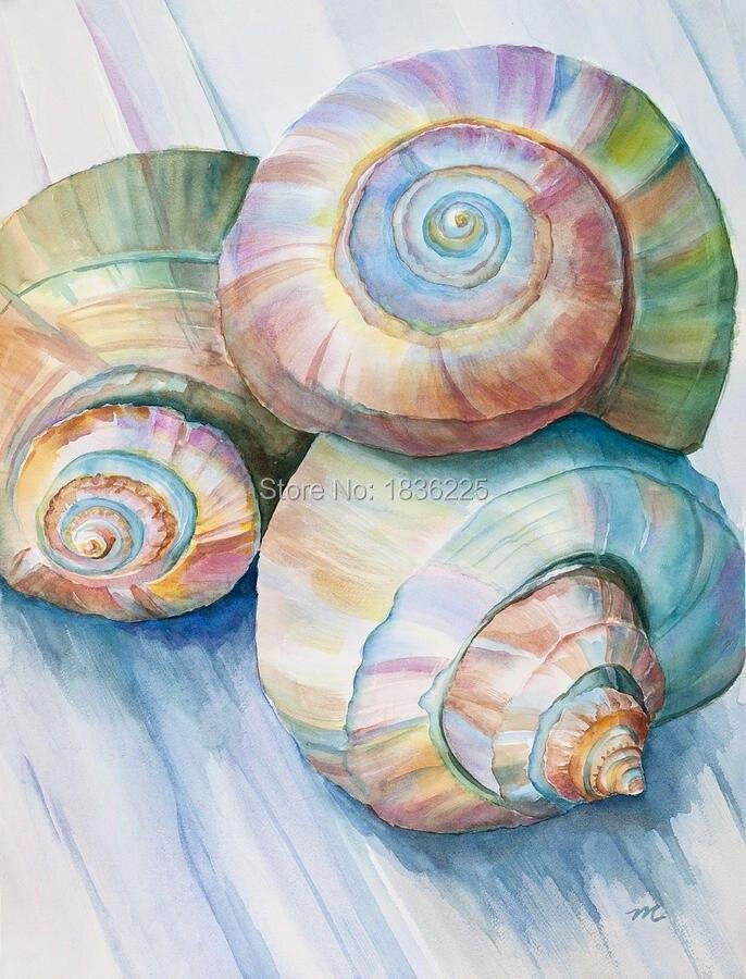⃝Modern Wall Art decoración para el hogar Seashell paisaje pintura ...
