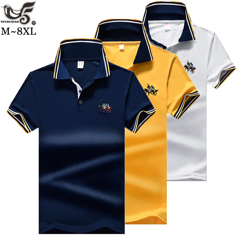Polo   Men Shirt Mens Short Sleeve Solid Shirts Camisa   Polos   Masculina Casual Plus size M~7XL 8XL Brand Tops Tees