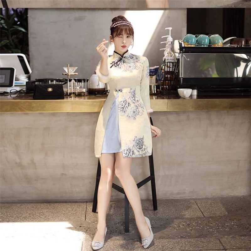 2019 Retro Women chinese cheongsam improved luxury jacquard traditional clothing Modern ladies floral qipao high split ao dai