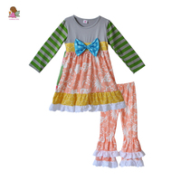 Persnickety Remake Boutique Girls Clothing Fall Striped Long Sleeve Dress With Bow Ruffle Pants Baby Outfit Clothes F164