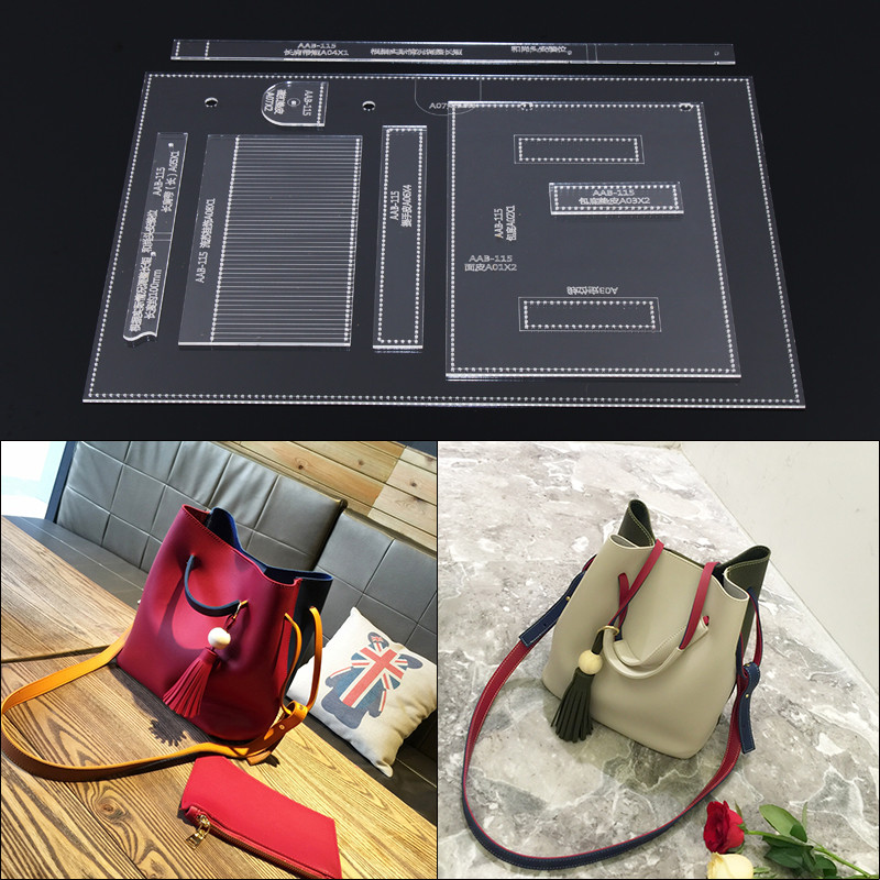 1 Set DIY Acrylic Template Sewing Stencils Pattern Women's Bucket Shoulder Messenger Bag Leather Craft Sewing Pattern