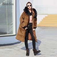 2017 Biutefou Brand Winter Women Warm Parkas Thick Solid Color Detachable Fur Collar Velvet Hooded Coats