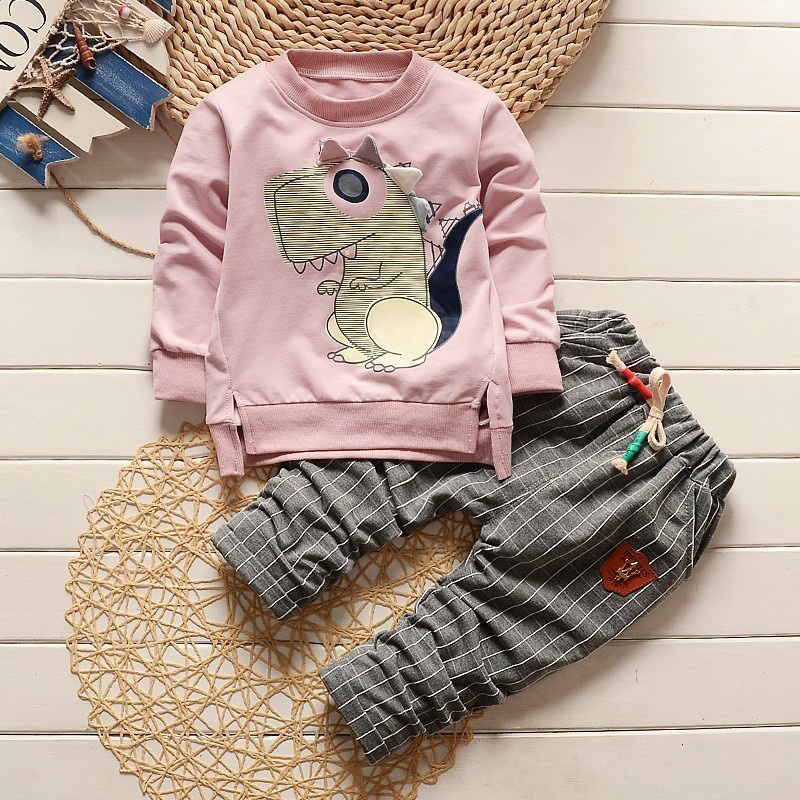 Infants clothes dinosaur kids outerwear children girls boys set winter sport clothes pullover+PLAID pant season clothing SET