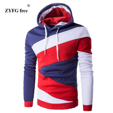 2017 new style Hoodies Mens Male Hip Hop Male Brand Hoodie Color Stitching Sweatshirt Men Slim Fit Men's Hoody XXL 7 color