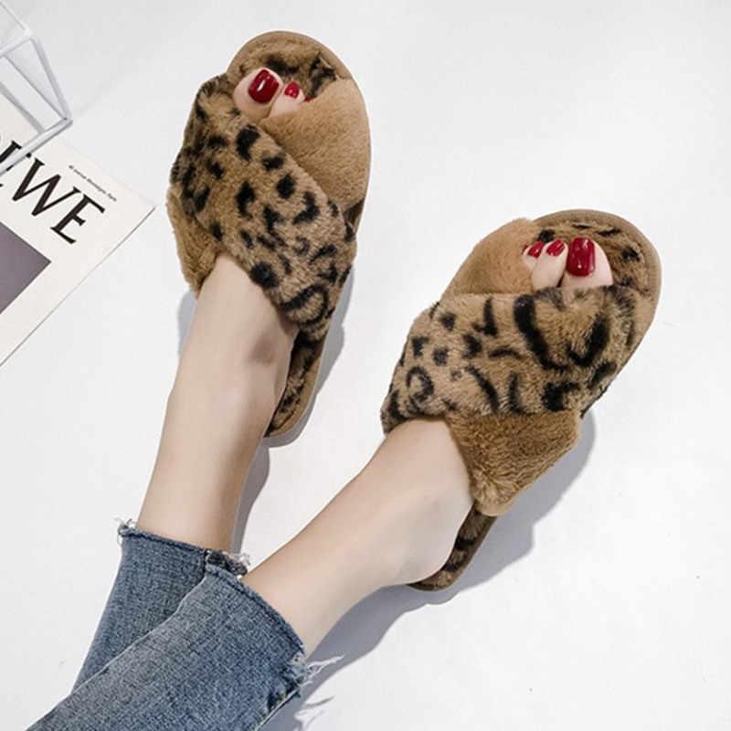 COOTELILI Kış Kadın Ev Terlik Faux Kürk Moda sıcak ayakkabı Kadın Daireler üzerinde Kayma Kadın Slaytlar Leopar Artı Boyutu 41