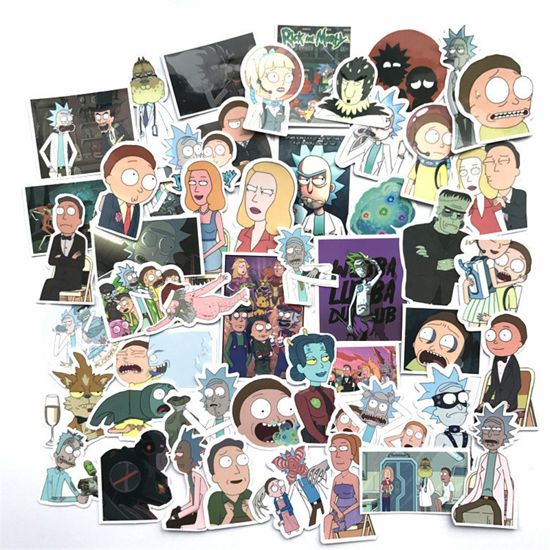 TD ZW 50Pcs Laptop Stickers Rick And Morty stickers Motorcycle/ Bicycle/ Skateboard Stickers, Luggage Decal Car Sticker Pack