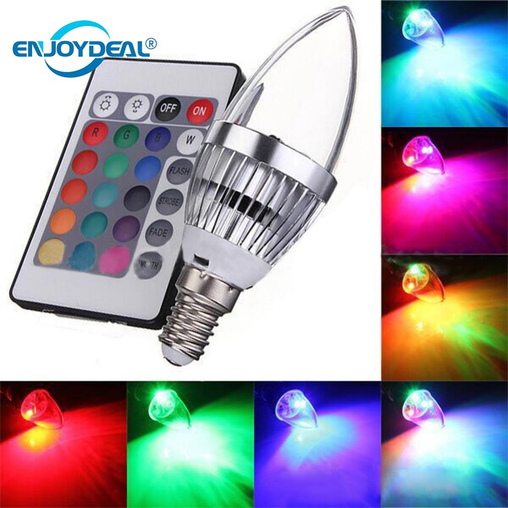 <font><b>E14</b></font> <font><b>LED</b></font> <font><b>220V</b></font> 3W Aluminum RGB 16Color Changing Dimmable <font><b>LED</b></font> <font><b>Candle</b></font> Light Lamp <font><b>Bulb</b></font> <font><b>W</b></font>/Controller For KTV Party Ballroom image