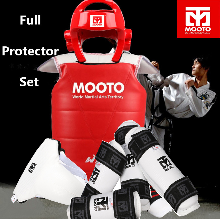NEW tae kwon do Taekwondo & Karate head protector Mooto protective gear 5 pieces set pride armor armguard shin guardWTF standard taekwondo protective gear set wtf hand chest protector foot shin arm groin guard helmet 8pcs children adult taekwondo karate set