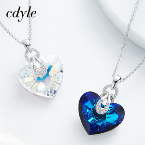 Image 5 - Cdyle Embellished with crystal Pendant Blue AB Color Heart Shaped Trendy Engagement Jewelry Bijoux Sexy Lady