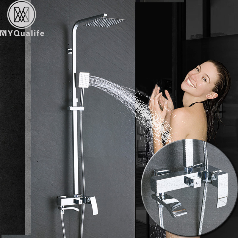 Chrome Bathroom Rainfall Shower Faucet Set Bathtub Shower Mixers Column Bath Shower Tap Waterfall Shower Head Wall Mounted wall mounted waterfall shower faucet glass set copper bathtub faucet shower chrome bathroom handheld shower head faucet mixer