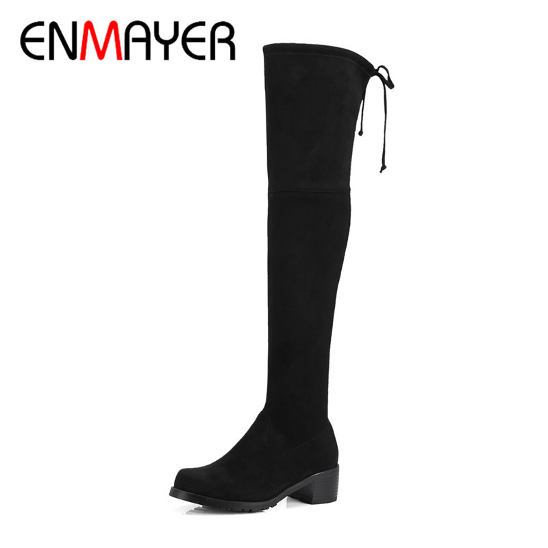 ENMAYER Winter Womans Over The Knee Boots High Quality Round Toe Warm Shoes Woman Solid Lace Up Sexy Boots Footwear CY064ENMAYER Winter Womans Over The Knee Boots High Quality Round Toe Warm Shoes Woman Solid Lace Up Sexy Boots Footwear CY064