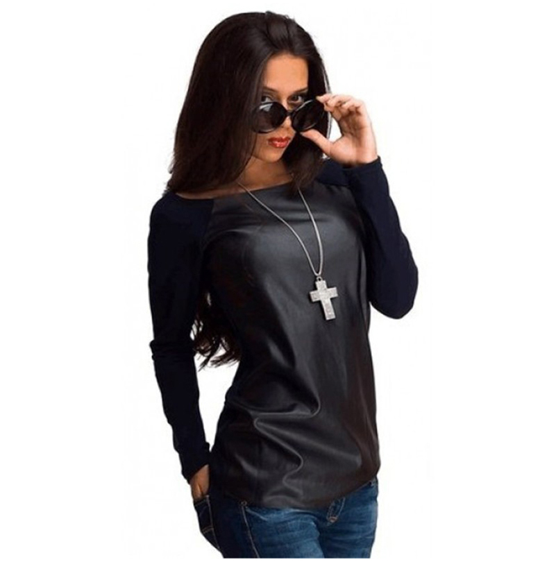 HTB1NWamLpXXXXXxaXXXq6xXFXXXm - Tops Women Black Long Sleeve Leather T-Shirt Casual