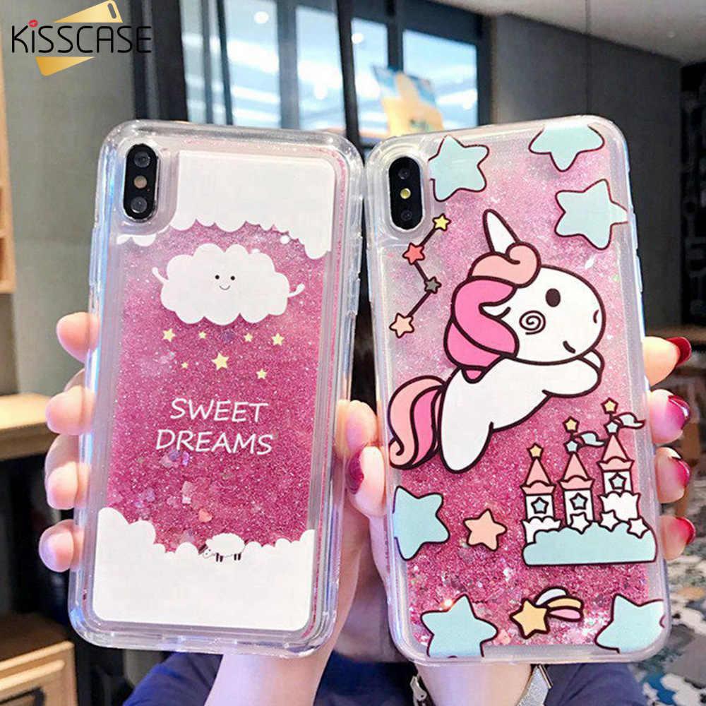 KISSCASE ciecz Quicksand telefon obudowa do Xiaomi Redmi Note 7 6 6A 4X śliczne Glitter obudowa do Xiaomi 8 9SE A1 5X Pocophone F1 fanda