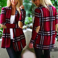 Women Winter Sweater Fashion Charming Girls Loose Fit Cardigan Grid Opened Blouse Casual Top Outwear Red/Blue S/M/L/XL