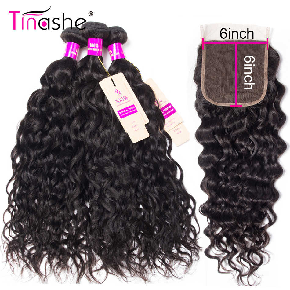 Tinashe Hair 6x6 Lace Closure With Bundles Water Wave Bundles With Closure Remy Brazilian Human Hair Weave Bundles With Closure