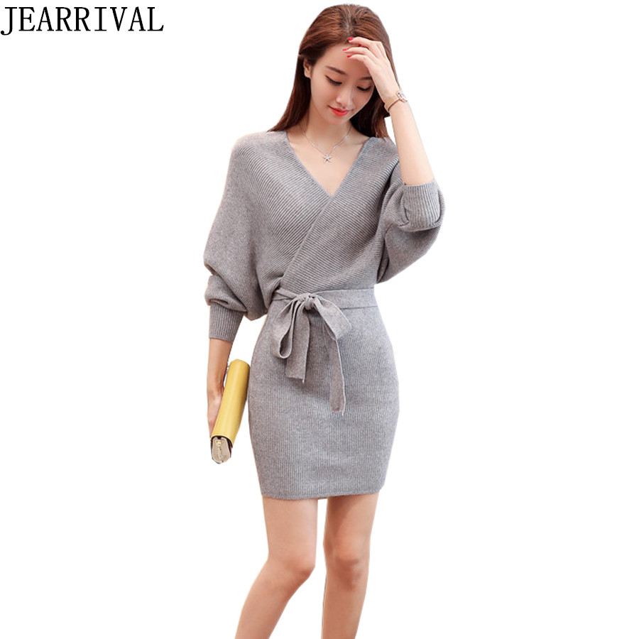 2017 Autumn Winter Sweater Dress Women Casual Long Batwing Sleeve V-Neck Sexy Bodycon Knitted Dresses Robe Vestidos De Festa цена
