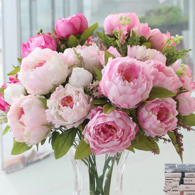 The peony flower simulation with artificial silk flower bouquet living room decorative flower