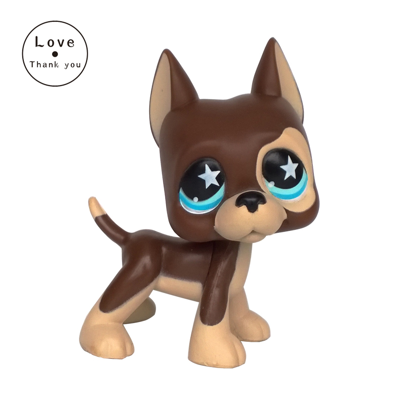pet shop lps toys GREAT DANE #817 brown dog star eyes Rare old collections figure