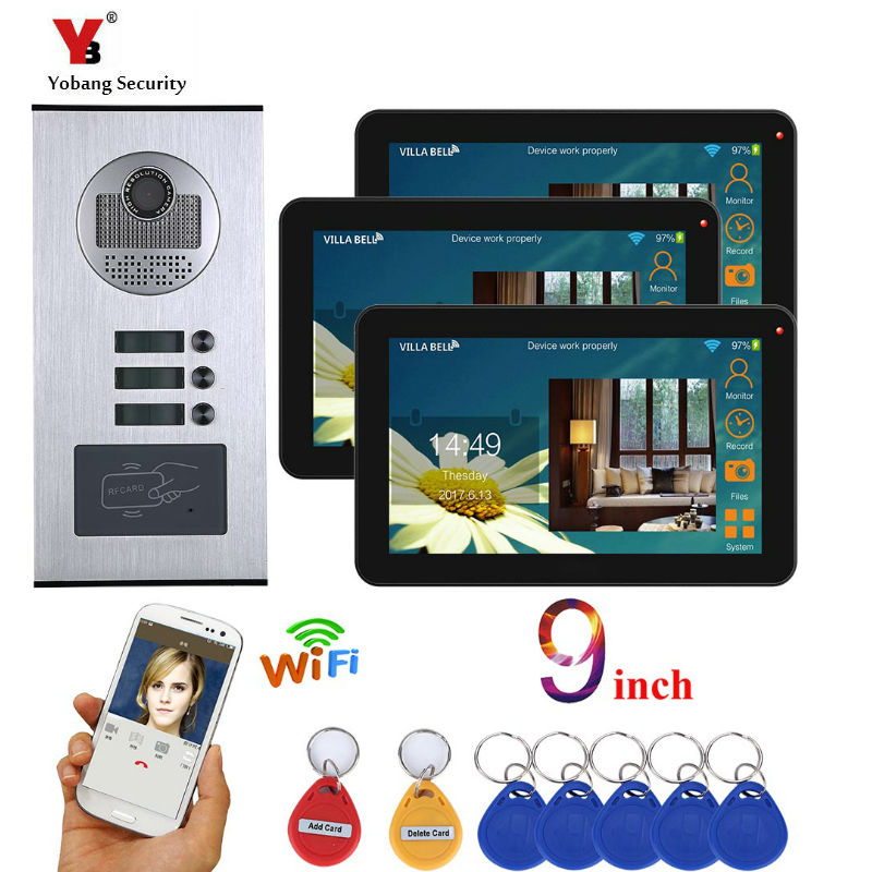 Yobang Security 3 Unit Apartment Video Intercom 9 Inch Monitor Wifi Wireless Video Door Phone Doorbell Intercom RFID Camera KIT door wireless with monitor