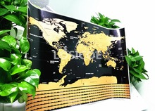High quality world scratch travel map poster personalized country flags stickers gold-plated coated print art as a gift