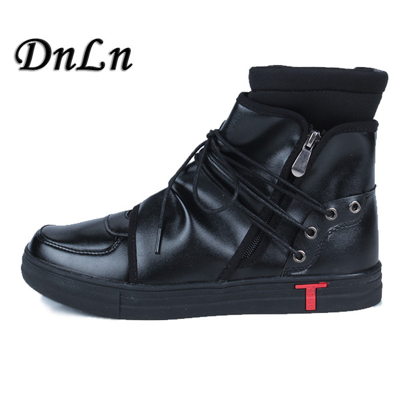 Men Casual Shoes Top Quality Pu Leather Men High Top Shoes Fashion Lace Up Breathable Hip Hop Shoes Men Black White ZT40