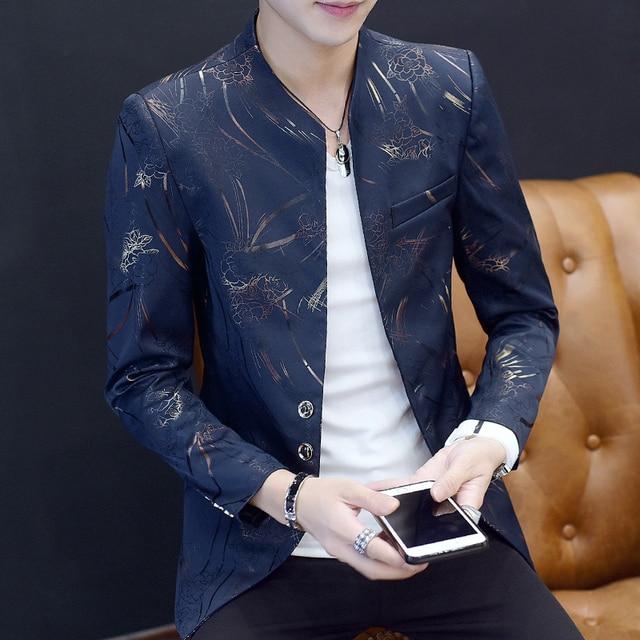 メンズ花柄ブレザー中国襟スーツジャケットゴールドプリントクラブパーティーウエディングジャケットmadarinブレザーオムスリムフィットプラスサイズ5xl 6xl