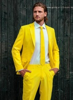 Men Suit Designers 2018 Colorful Yellow Suit Casual Prom Stage Performance Men Suit 2 Pieces Tailor Made Party Homecoming Suits