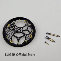 Classic BLIGER 38.9MM Black PVD Coated Dial three dimensional Watch Dial Fit For ETA 6497 6498 Hand Winding Movement +Hands