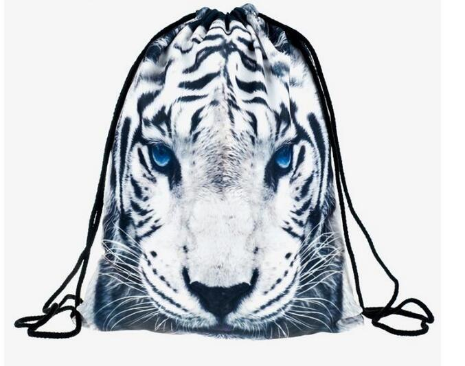 1 piece leopard Cat tiger 3D Printing Backpack Bag Rucksack mochila feminina Drawstring bag schoolbag