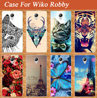 High Quality painting SOFT TPU phone case for Wiko Robby painted Cat Lion Rose Flower back case cover For Wiko Robby phone case