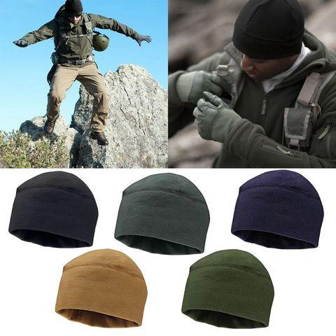 Men Women Unisex Winter Solid Color Soft Warm Watch Cap Polar Fleece Thickened Military Beanie Hat Windproof Outdoor Headwear Lahore