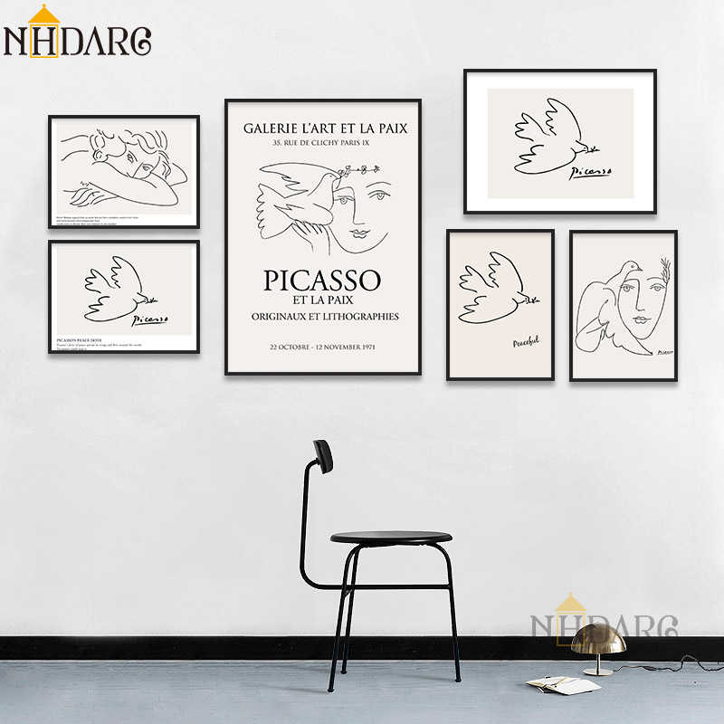 Matisse Picasso Retro Fashion Modern Line Sketch Posters and Prints Wall Art Canvas Pictures for Home Decor Living Room Decor