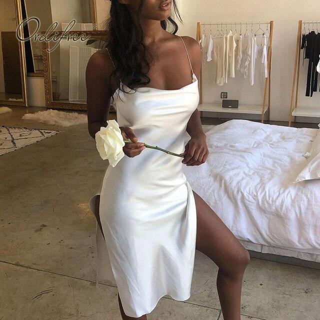 1a52c98d020 Ordifree 2019 Summer Women Silk Slip Dress White Black Red Backless Sexy Satin  Dress