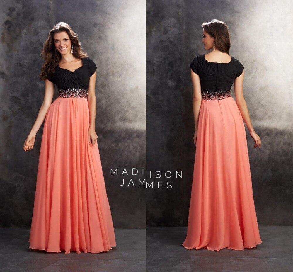 2017 New Fashion Black and Orange Madison James Prom Dresses with ...
