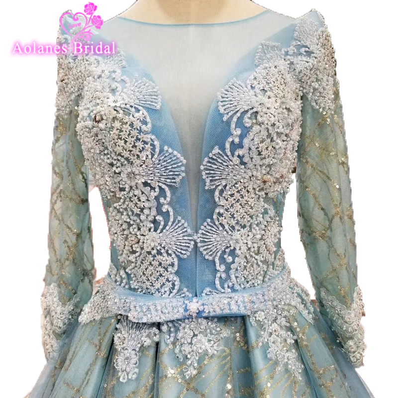 Beading Long Sleeves   Evening     Dresses   Tulle Peacock Blue Stage   Dress   Glitters Blings Party Designs Prom Gown Vestido De Festa