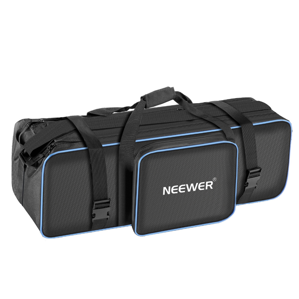 купить Neewer Large Photo Studio Photography Carrying Case Bag 29.1x10.6 x 9.84 inches with Shoulder Strap and Tripod (Black/Blue) по цене 2105.39 рублей