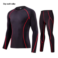 2017 Winter For Men Rash Guard Kit Men Long Sleeve T Shirt Trousers MMA Compressed Clothing