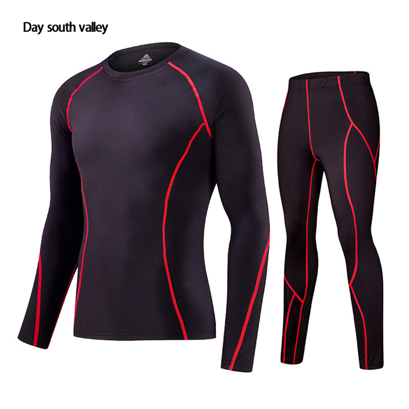 2019 Winter For Men Rash Guard Kit   Men Long Sleeve T-Shirt + Trousers   MMA Compressed Clothing Thermal Underwear Men  S-XXXL