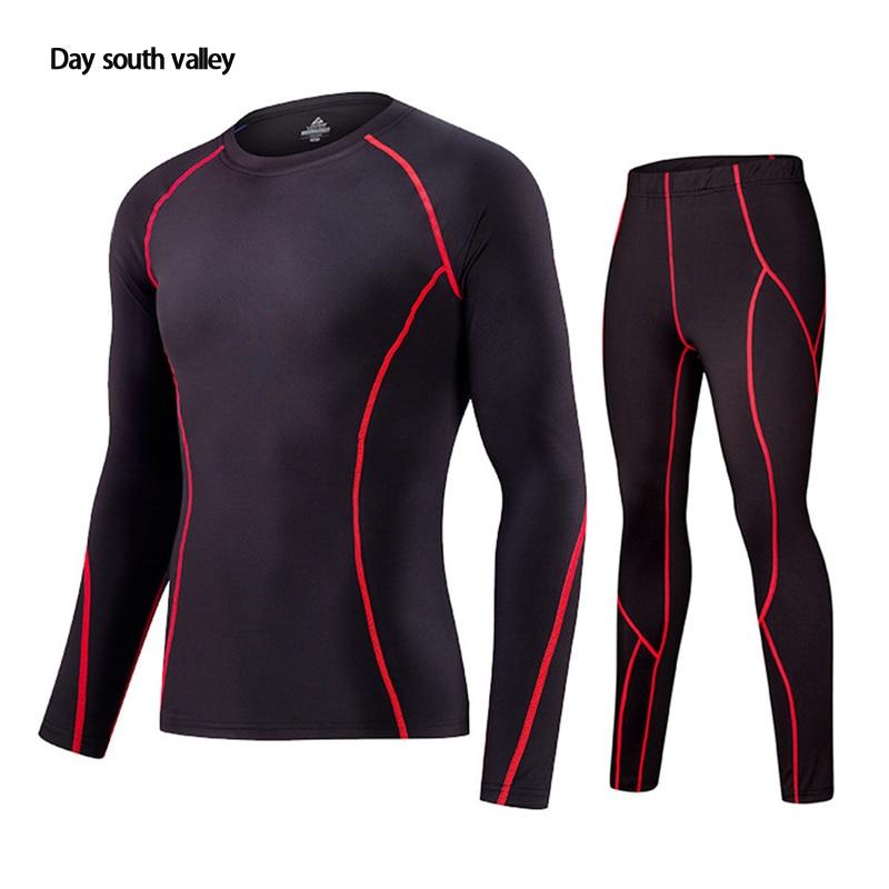 2019 winter for Men rash guard kit Men Long Sleeve T-Shirt + trousers MMA Compressed Clothing thermal underwear Men S-XXXL