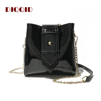 DIQQID Fashion Chain Handbag Women Patent Leather Shoulder Bucket Bag Large Capacity Messenger Bags Handbags Women Famous Brands