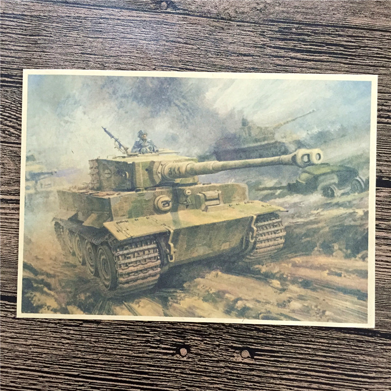 Direct selling RMK-054 vintage kraft paper Ground War Beast home decor wall art craft sticker painting for kids rooms 42x30 cm
