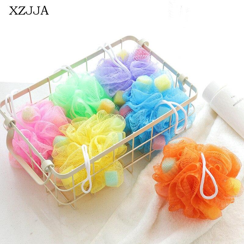 XZJJA Colorful Nylon Bath Ball Bathroom Bath Tubs Tool Sponge Bath Flower For Body Wisp Dry Brush Exfoliation Cleaning Equipment