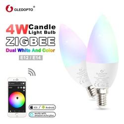 GLEDOPTO zigbee zll led 4 W bombilla de luz de la vela rgb/rgbw/rgbww/cw inteligente aplicación de control AC100-240V e12/E14 wotk con amazon echo plus