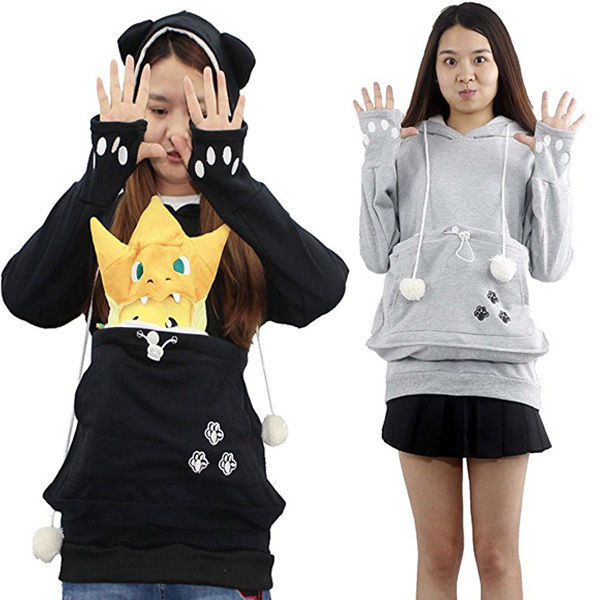 Thefound Fashion Unisex Sweatshirts Kangaroo Pet Dog Cat Holder Carrier Coat Pouch Large Pocket Hoodie Top Hot Selling