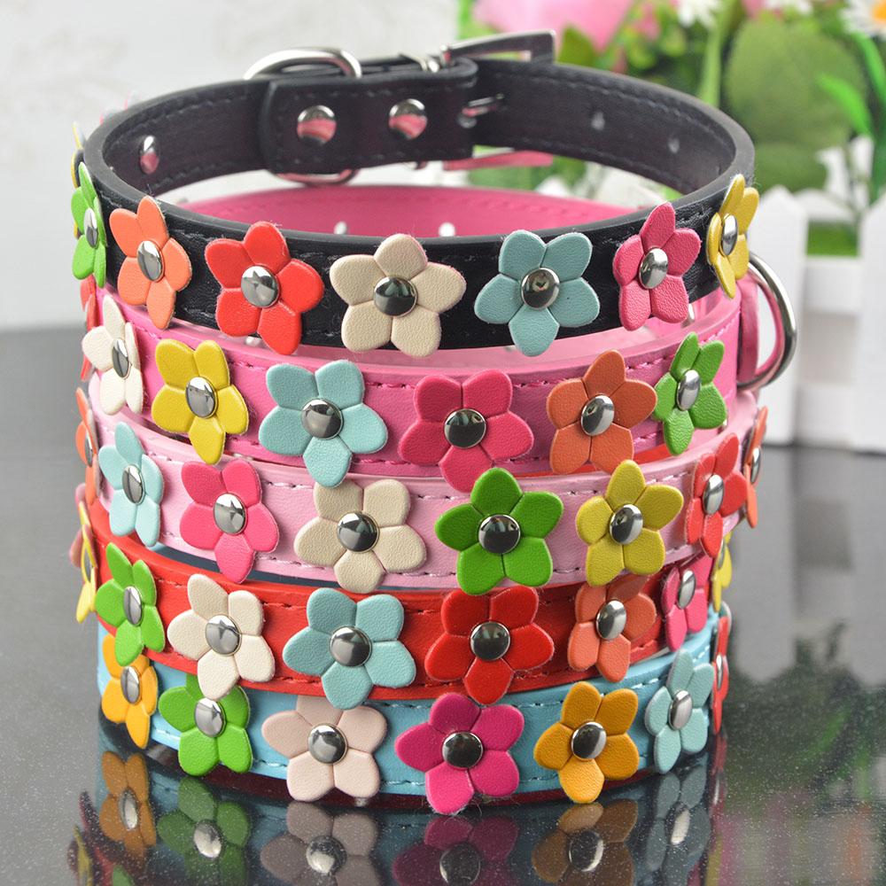 (20 Pieces/Lot)Hot Sale PU Leather Dog Collar One Row Flower Studded Pet Dog Puppy Necklace Collar