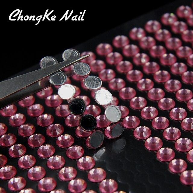 Pink Color Transfer Foil Nail Art Star Rhinestones Design Sticker