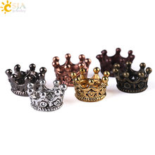 CSJA Imperial Crown Copper Spacer Beads Vintage Charms Antique Gold Color Bead Accessories for Diy Men Bracelet Wholesale S110(China)